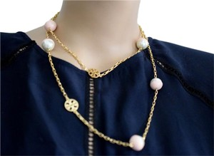 Tory Burch Tory Burch Evie Pearl Gold Logo Dipped Rosary Long Necklace