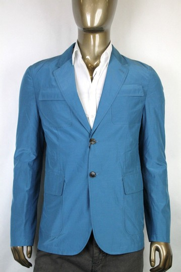 Gucci Teal New Men's Cotton Silk Two Button Light Jacket It 56/ Us 46 304814 4670 Groomsman Gift