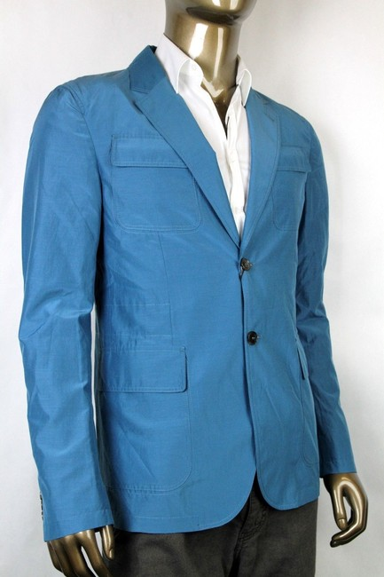 Gucci Teal New Men's Cotton Silk Two Button Light Jacket It 46/ Us 36 304814 4670 Groomsman Gift Gucci Teal New Men's Cotton Silk Two Button Light Jacket It 46/ Us 36 304814 4670 Groomsman Gift Image 1