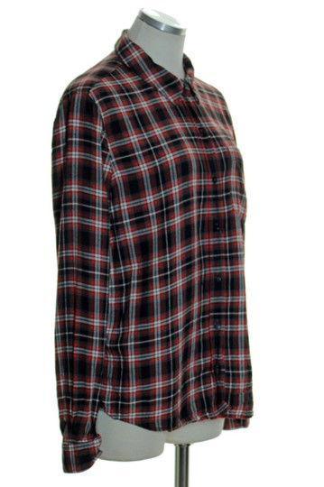 84d3b2c63 Forever 21 Red Rayon Plaid Pocket Blouse Button Down Shirt cheap ...