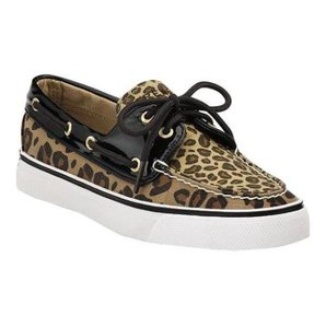 Sperry Casual Comfortable Boat Patent Leather Leopard Flats