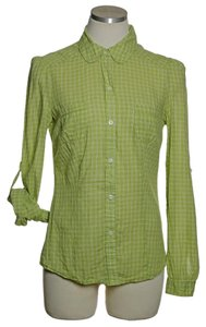Old Navy Button Down Shirt Yellow Green