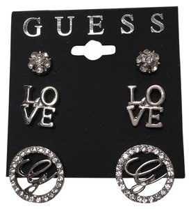 Guess NWT Guess 3 Pair Silver Tone Crystal Earrings