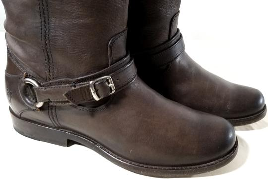Frye True To Size Easy Slip-on Strap Buckle Accent Brown Vintage Smooth Leather Boots