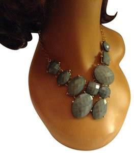 Other Gold Tone, Light Blue Asymmetrical Shapes Statement Necklace