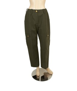 Chanel Cotton Casual Straight Pants Green