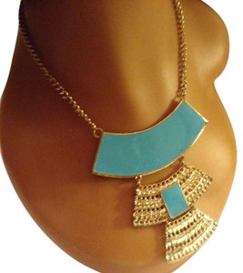 Other Gold Tone, Turquoise Blue Statement Necklace