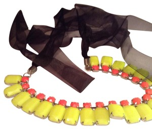 Other Hot Pink, Bright Yellow, Black Ribbon Choker/ Statement Necklace