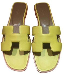 Hermès Hermes Oran Yellow Sandals