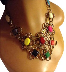 Other Gold Tone Multi Color Dangling Statement Necklace