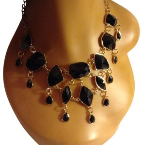 Gold Tone Black Dangling Statement Necklace