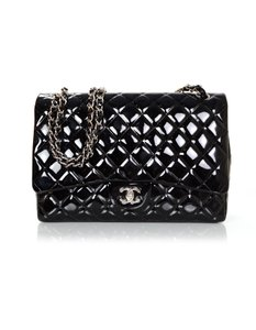 Chanel Patent Leather Single Flap Maxi Flap Cross Body Bag