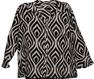 JM Collection Bold Bold Stripe Bohemian Button Down Shirt Black & White