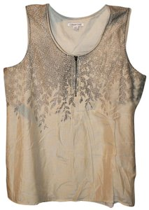 Coldwater Creek Print Silk Soft Bohemian Top Beige