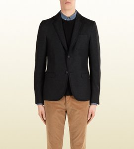 Gucci Black New Men's Wool Stretch Flannel Crest Jacket It 56 / Us 46 347325 1165 Groomsman Gift