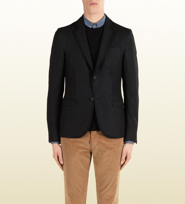 Gucci Black New Men's Wool Stretch Flannel Crest Jacket It 54 / Us 44 347325 1165 Groomsman Gift Gucci Black New Men's Wool Stretch Flannel Crest Jacket It 54 / Us 44 347325 1165 Groomsman Gift Image 1