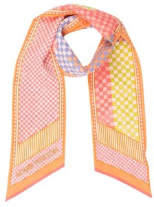 Louis Vuitton Pink, orange multicolor Louis Vuitton Damier Aquarelle silk bandeau