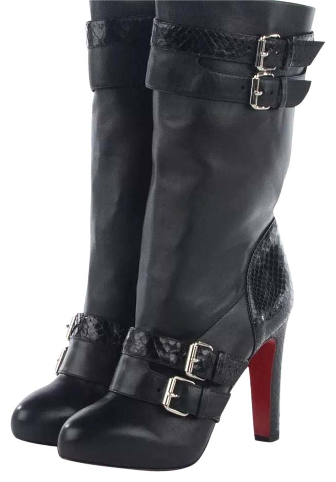 Christian Louboutin Black 140 Kid Leather Python Loubi 140 Black In Boots/Booties 7fbf7f