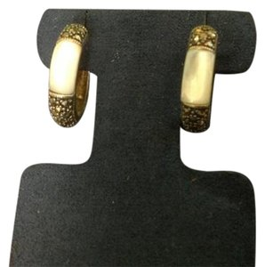 Other Sterling Silver Marcasite and Mother of Pearl Hoop Earrings