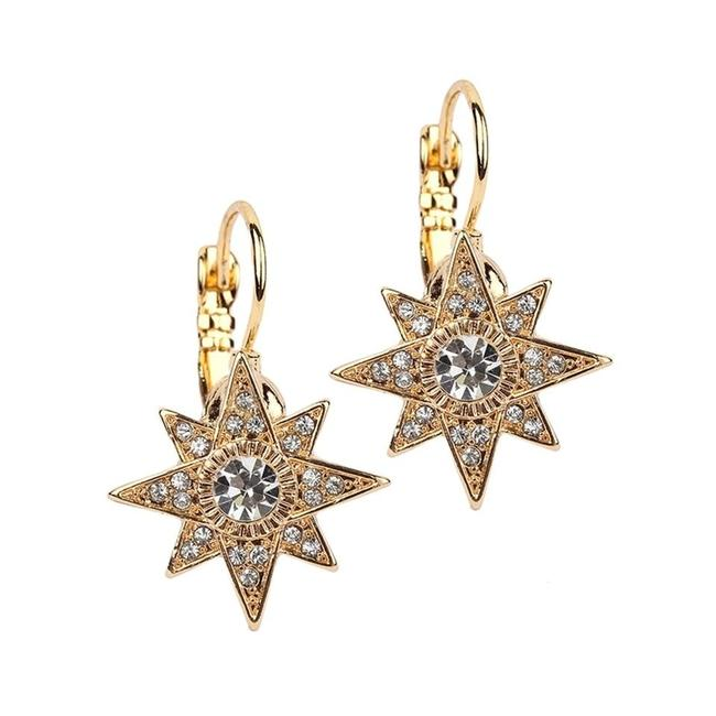Item - Gold Celestial Stars Prom Or Bridesmaids Euro Wire 4346e-g Earrings