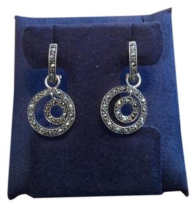 Sterling Silver Marcasite Loop-In-Loop Drop Earrings