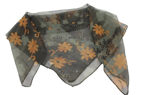 Other Women Green Scarf Fabric Square Print Pocket Brown Flowers