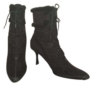 Anne Klein Lace Up Micro Suede Fur Black Boots