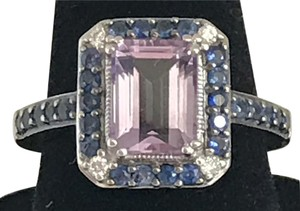 LeVian Le Vian Amethyst Ring - 1/20 ct tw Diamonds/Blue Sapphires/14K White