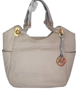 MICHAEL Michael Kors Pebble Leather Lilly Large Tote in VANILLA