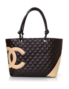 Chanel Handle Quilted Tote in brown