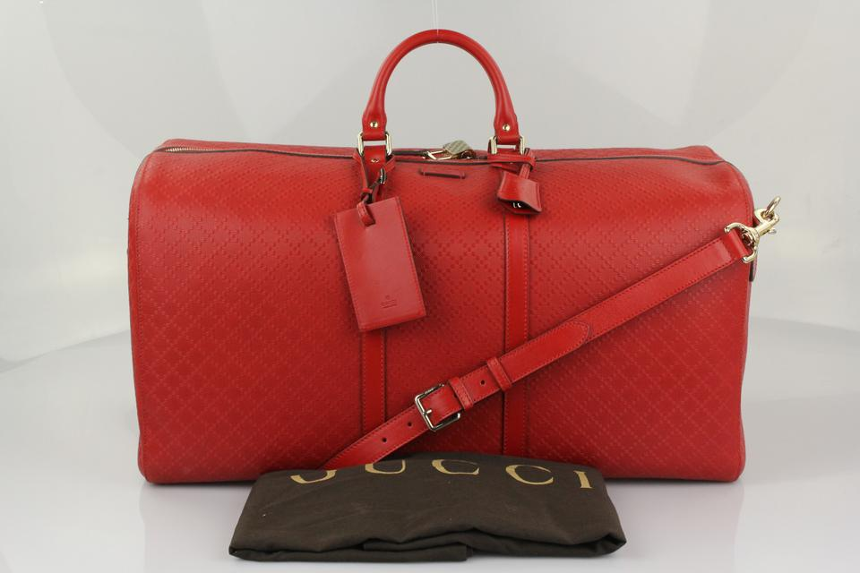 6cea3cca572d Gucci Carry-on Gym Duffle Red Bright Diamante Travel Bag Image 10.  1234567891011