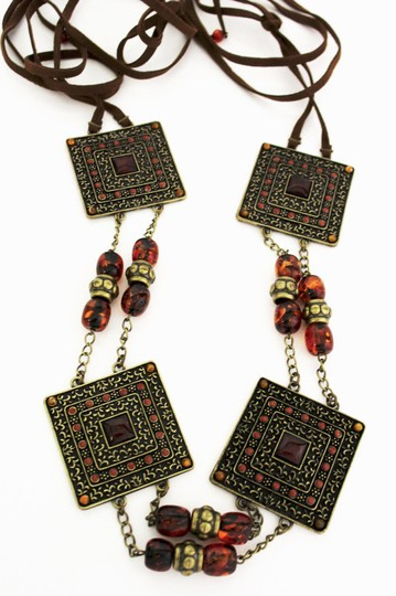 Other Women Antique Gold Brown Beaded Moroccan Fashion Tie Belt XS S M
