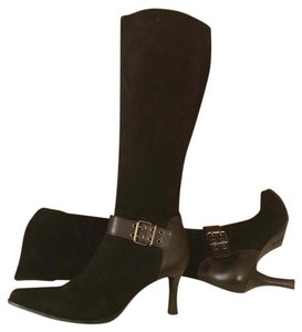 Franco Sarto Suede Leather Knee High Buckle Black Boots