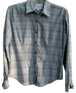 Columbia Sportswear Small Plaid 100% Cotton Button Down Shirt Blue/Gray Plaid