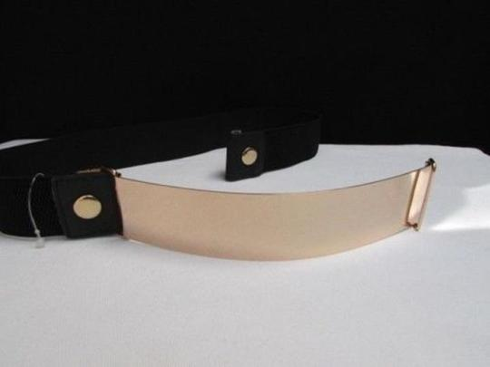 Other Women Belt Hip Waist Wide Gold Plate Fashion Black Elastic Plus Size