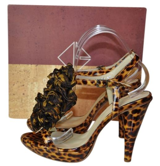 Opening Ceremony Camila Ruffle Platform Multi Animal Print Brown Sandals