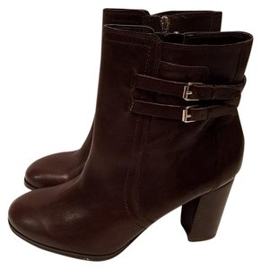 Marc Fisher Kattie Block Heel Leather Ankle Brown Boots