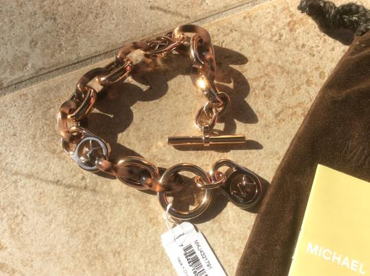 Michael Kors Collection Heritage Rose Gold Tortiose Toggle Bracelet