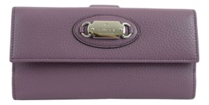 Gucci Gucci 231841 Purple Leather Clutch Continental Wallet w/Plaque