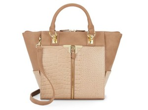 Danielle Nicole Reptile Gold Colorblock Trendy Tote in Nude