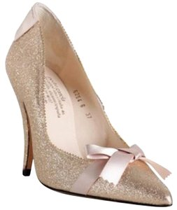 Pedro Garcia Glitter Bow Gold Pumps