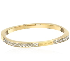 Michael Kors Collection Michale Kors Pave Logo Gold Cushion Hinged Bangle Bracelet