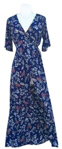 Blue Floral Maxi Dress by Lovely Day Maxi Open Slit