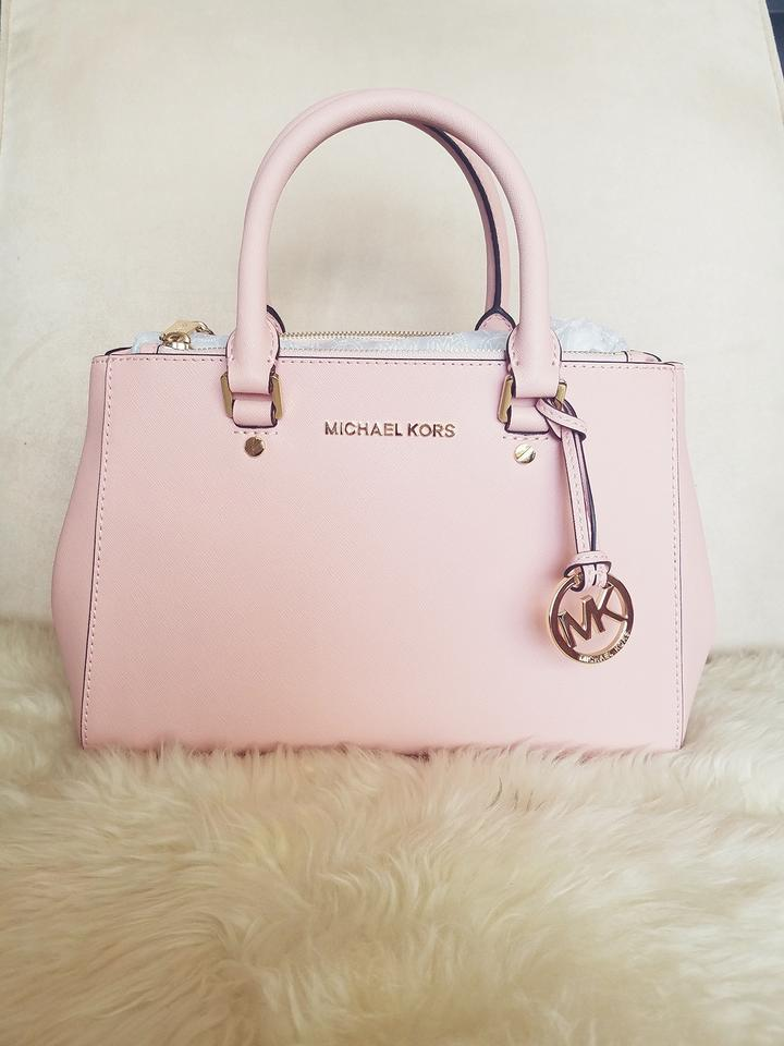 02c1a3bfd0558e Michael Kors Small Sutton Pastel Pink Leather Exterior Fabric Lining ...