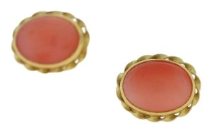 Other Vintage Oval Pink Jade Gold Rimmed Earring- 14k Yellow Gold