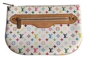 Louis Vuitton Multicolor Blanc Pochette Gm White Clutch