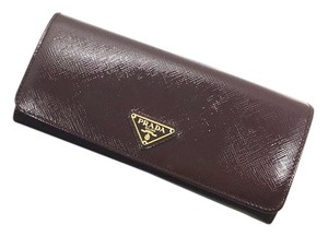 Prada NEW Prada Patent Leather Burgundy Bifold Wallet