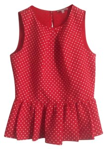 Juicy Couture Polkadot Polka Dot Red Peplum Blouse Sweater