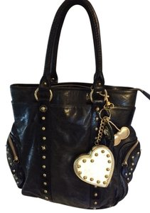 Beverly Feldman Studded Satchel in black