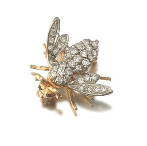 Estate Gold, Diamond, and Ruby Bee Pin Brooch